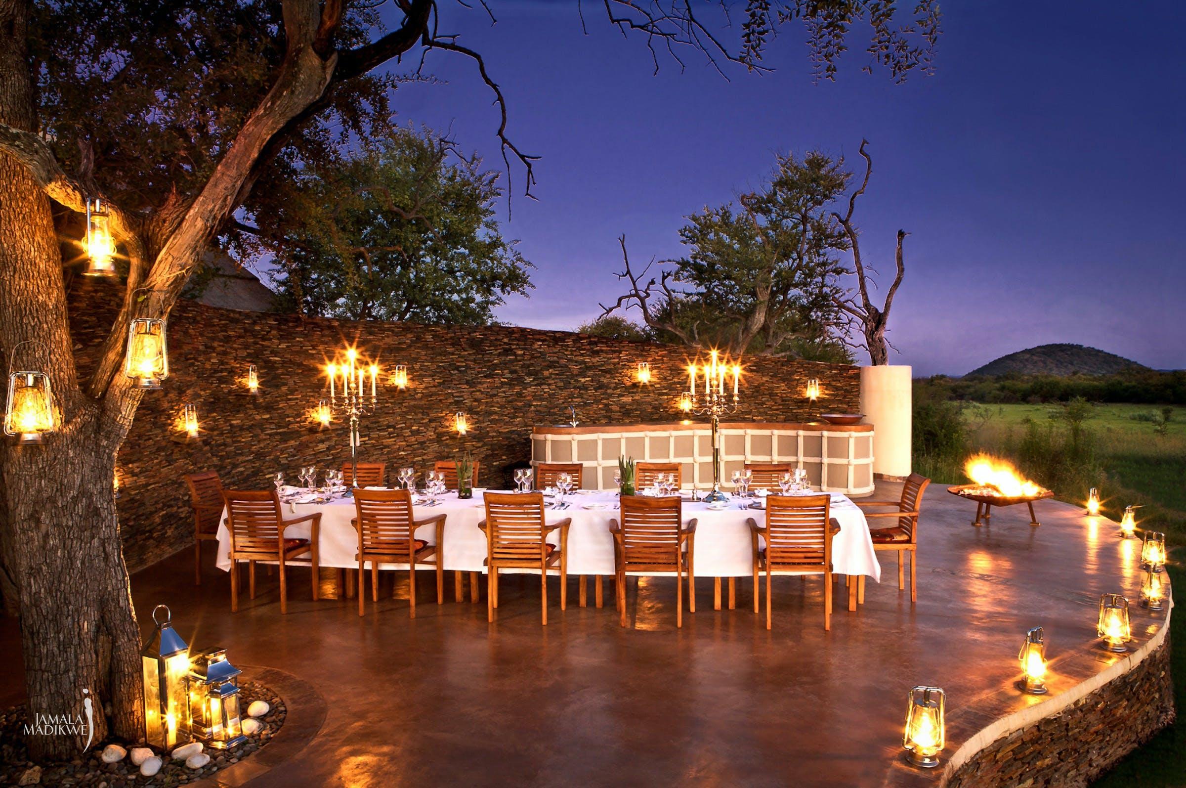 safari lodges for foodies outside dining jamala madikwe