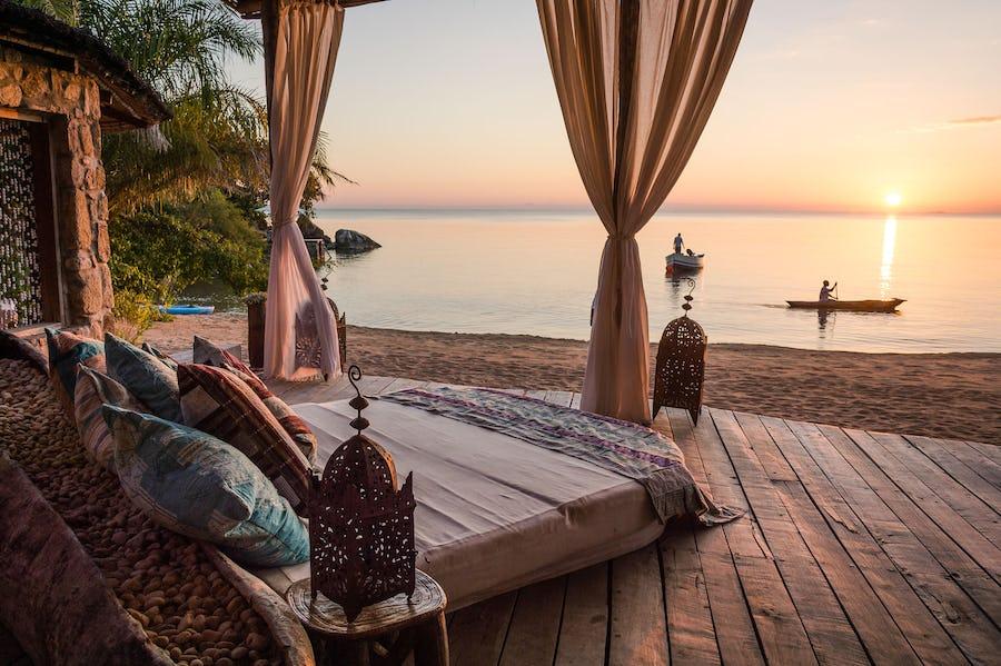 Kaya Mawa Deck Lounge Lake Malawi Best bush and beach in southern africa
