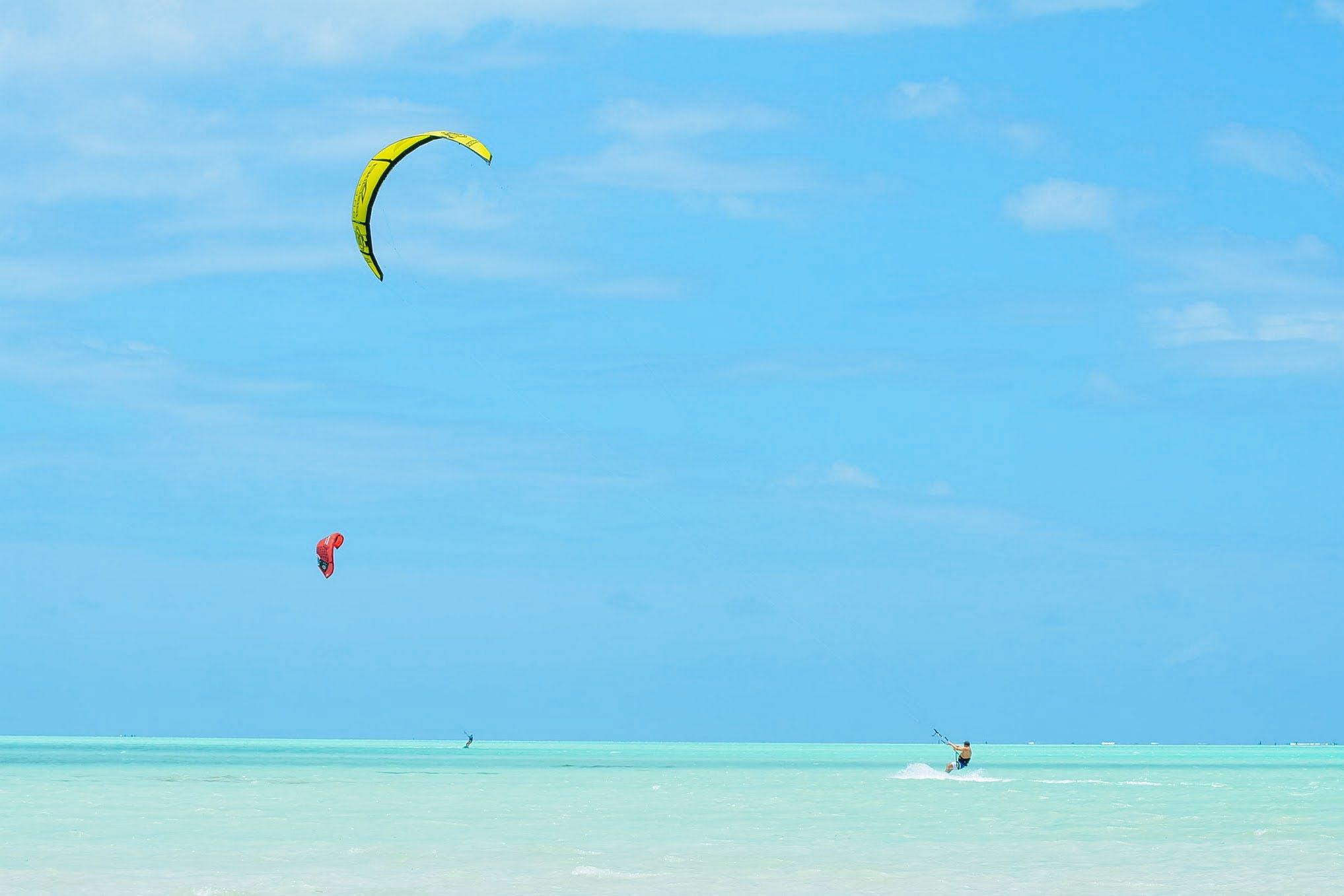 Zanzibar white sand kitesurfing tanzania