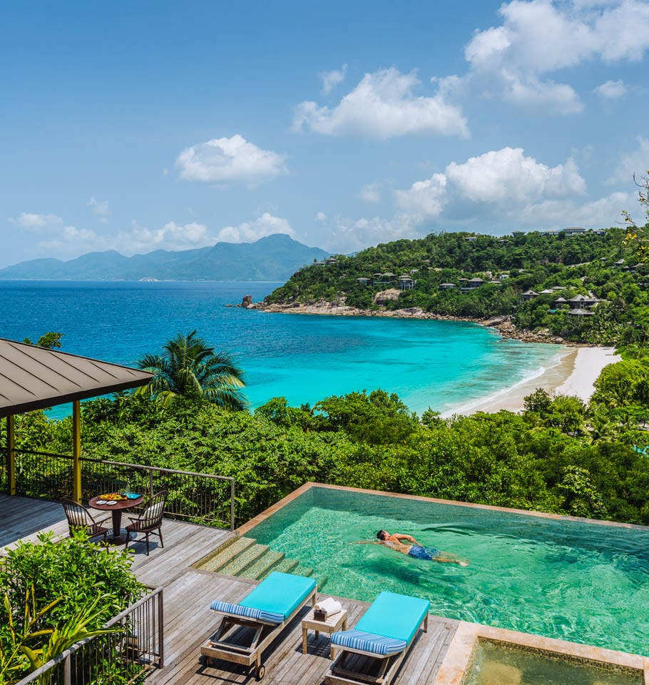 Four Season Resort Seychelles Aerial View Room Suite Pool Lounger Private  Veranda View of the Beach